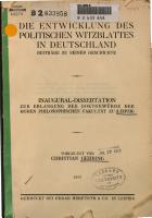 Die Entwicklung des politischen Witzblattes in Deutschland PDF