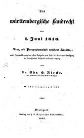 Das württembergische Landrecht: vom 1. Juni 1610