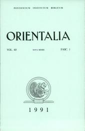 Orientalia: Vol. 60