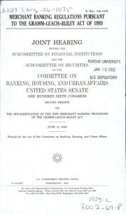 Merchant banking regulations pursuant to the Gramm Leach Bliley Act of 1999 PDF