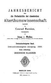 Jahresbericht über die Fortschritte der klassischen Altertumswissenschaft: Band 22;Bände 83-84