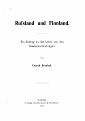 Russland und Finnland: Ein Beitrag zu der Lehre von den Staatenverbindungen