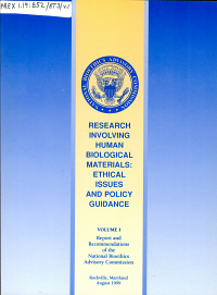 Research Involving Human Biological Materials  Report and recommendations of the National Bioethics Advisory Commission PDF