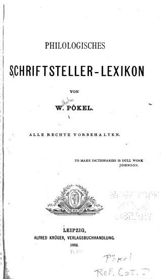 Philologisches Schriftsteller Lexikon PDF