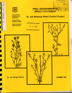Idaho Panhandle National Forest  N F    St  Joe Noxious Weed Control Project