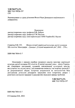 Zhinky V Istorii Ukrainskoi Kultury Druhoi Polovyny Xx Stolittia
