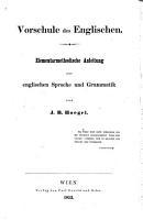 Vorschule des Englischen  Elementarmethodische Anleitung PDF