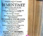 Disputatio juridica solennis de dementia et melancholia