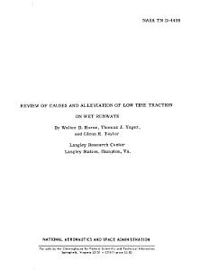 Review of Causes and Alleviation of Low Tire Traction on Wet Runways PDF