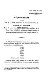 Réquisitoire prononcépar M. Faider... dans la cause entre Henri Hisette ...