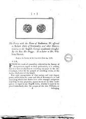 The Penny with the Name of Rodbertus 4. Afferted to Robert Duke of Normandy; and Other Matters Relative to the English Coinage Occasionally Discussed. By the Rev. Mr. Pegge. In a Leter [!] to Dr. William Hunter. Read at the Society of Antiquaries June 25, 1768