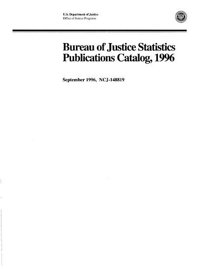 Bureau of Justice Statistics Publications Catalog PDF