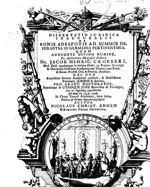 Dissertatio juridica inauguralis de bonis adespotis ad summos imperantes in Germania pertinentibus