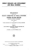 Energy Research and Development and Small Business: Solar energy (continued): The small business and government roles