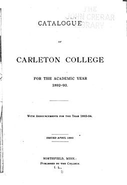 Catalog of Carleton College for the Academic Year     PDF