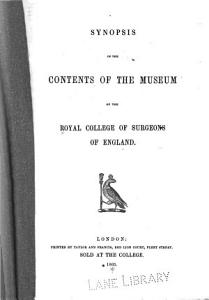 Synopsis of the Contents of the Museum of the Royal College of Surgeons of England PDF