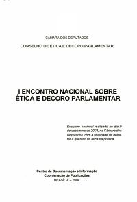 I Encontro Nacional sobre   tica e Decoro Parlamentar PDF