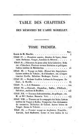 Memoires: (inédits de l'abbé Morellet, suivis de sa correspondance avec M. le Comte R*** ...