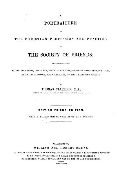 Download A Portraiture of the Christian Profession and Practice of the Society of Friends Book