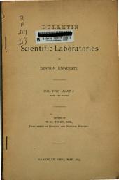 Bulletin of the Scientific Laboratories of Denison University: Volume 8, Part 1