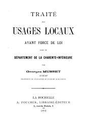 Traité des Usages Locaux ayant force de loi dans le département de la Charente-Inférieure