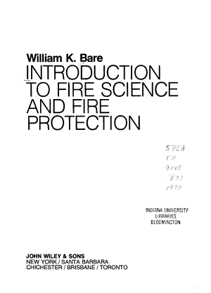 Introduction to Fire Science and Fire Protection