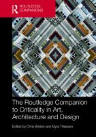 The Routledge Companion To Criticality In Art Architecture And Design