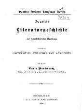 Deutsche literaturgeschichte: auf kulturhistorischer grundlage, for universities, colleges, and academies, Band 1