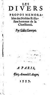 Divers Propos Memorables des Nobles et illustres hommes de la Chrestiente