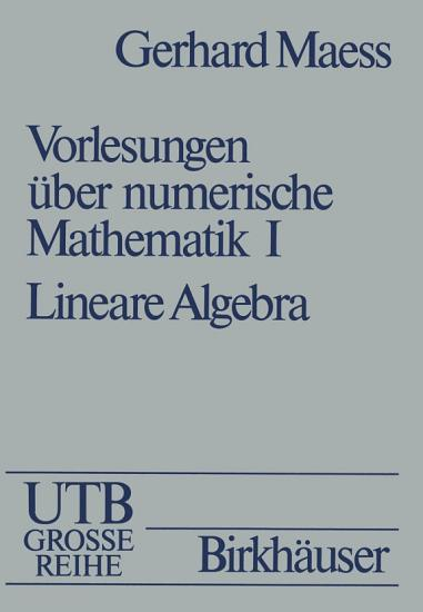 Vorlesungen   ber numerische Mathematik PDF