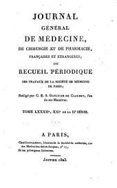 Journal général de médecine, de chirurgie et de pharmacie franc̜aises et étrangeres, ou, Recueil périodique de la Société de médecine de Paris: Volume82