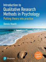Introduction to Qualitative Research Methods in Psychology PDF