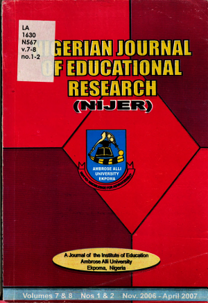 Nigerian Journal of Educational Research PDF
