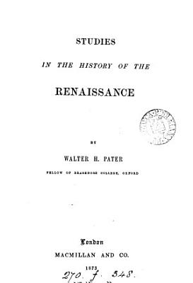Studies in the History of the Renaissance PDF