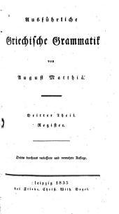 Ausführliche griechische Grammatik: Band 3