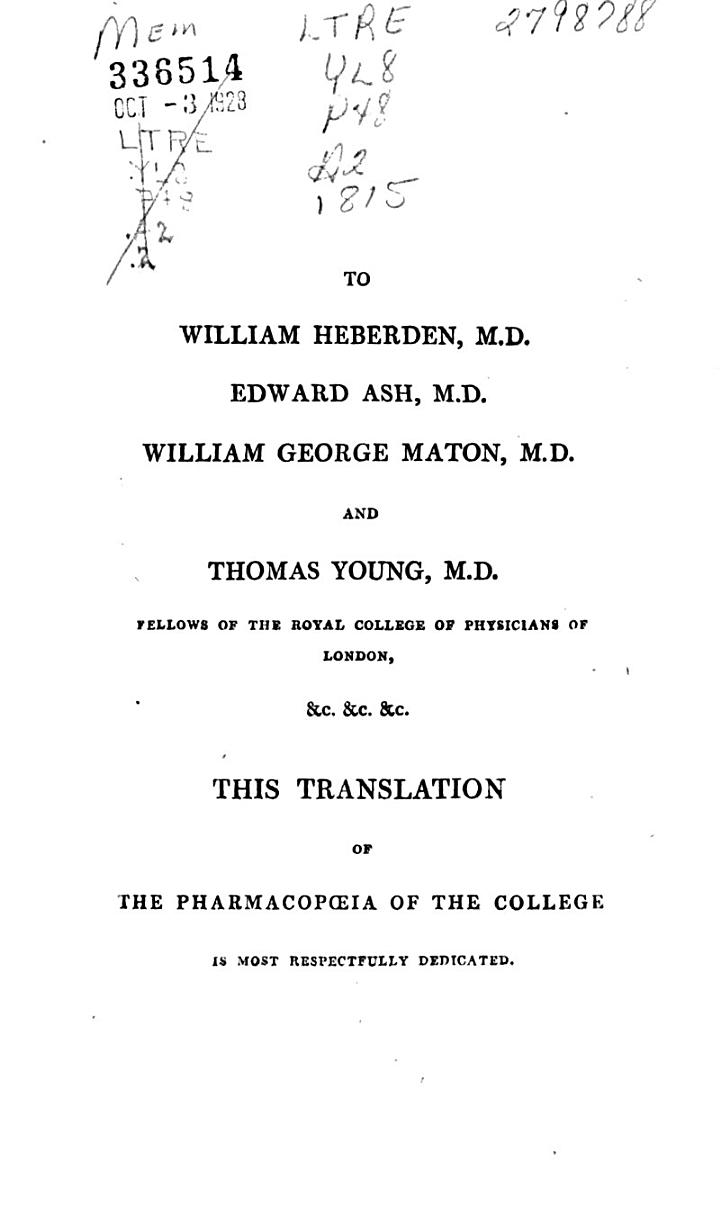 The Pharmacopoeia of the Royal College of Physicians of London, M.DCCC.IX.