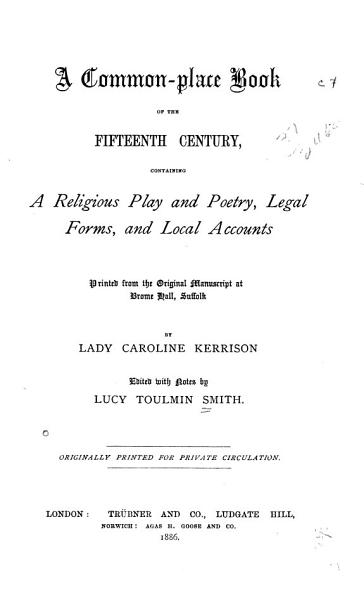 A Common Place Book Of The Fifteenth Century
