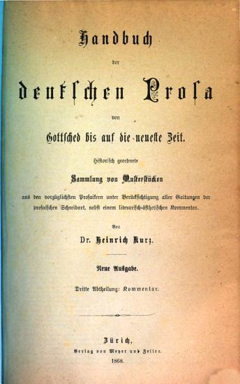 Handbuch der deutschen Prosa von Gottsched bis auf die neueste Zeit PDF