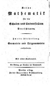 Elementar-geometrie und trigonometrie für Deutschlands schulen universitäten