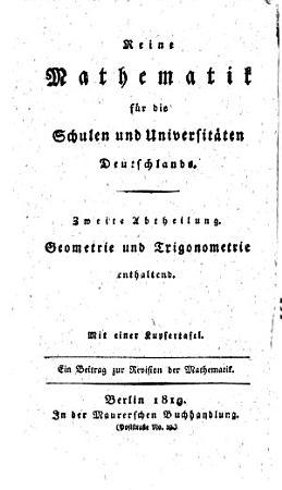 Elementar geometrie und trigonometrie f  r Deutschlands schulen universit  ten PDF