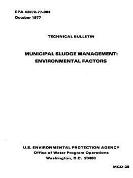 Municipal Sludge Management PDF