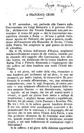 A F. Crispi. [A letter on the unification of Italy.]
