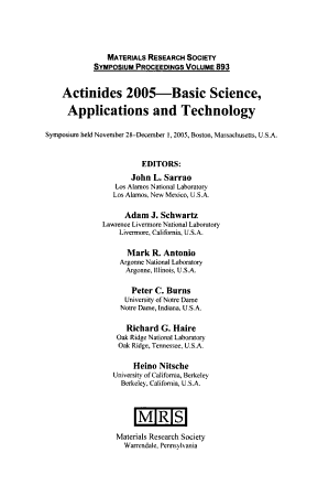 Actinides 2005  basic Science  Applications and Technology PDF