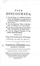 Four Discourses ... Delivered to the clergy of the Archdeaconry of Cleveland, in the years 1767, 1769, 1771, and 1773