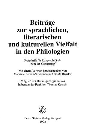 Beitr  ge zur sprachlichen  literarischen und kulturellen Vielfalt in den Philologien PDF