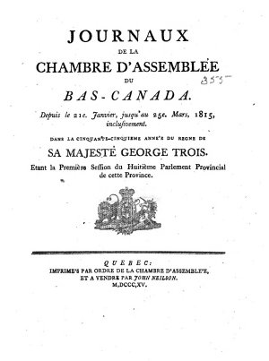 Journals of the House of Assembly of Lower Canada PDF