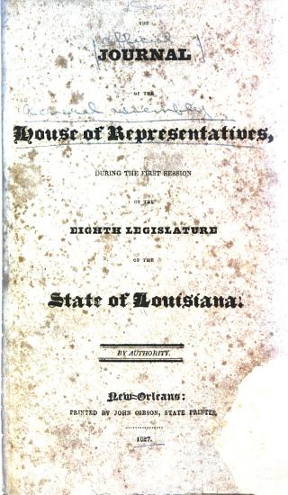 Official Journal of the Proceedings of House of Representatives of the State of Louisiana at the     General Assembly     PDF