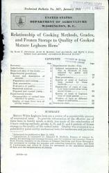 Relationship Of Cooking Methods Grades And Frozen Storage To Quality Of Cooked Mature Leghorn Hens Book PDF