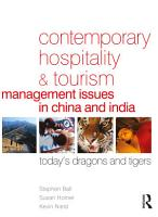 Contemporary Hospitality and Tourism Management Issues in China and India PDF