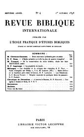 Revue biblique internationale: Volume7
